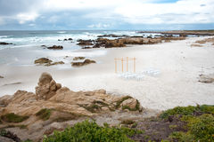Peacful海滩在有一个地方的加利福尼亚婚姻的 免版税图库摄影