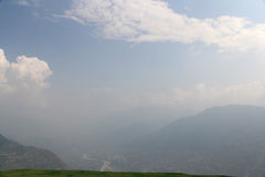 Peacful serene scenery - mountain in clouds at Himalayas. Kullu valley, Himachal Pradesh, India Stock Photography