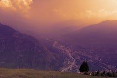 Peacful serene scenery - sunset mountain in clouds at Himalayas. Kullu valley, Himachal Pradesh, India Royalty Free Stock Photo