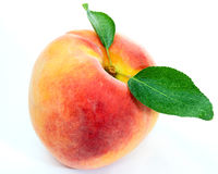 Peach. With leaves isolated on white background Stock Photo