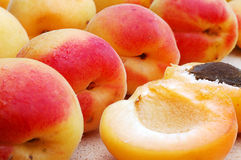 Peach. Some juicy ripe peaches close up stock image