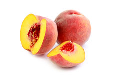 Peach. Ripe peach fruit on white background stock photography