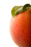 Peach. With leaves on white Stock Photo