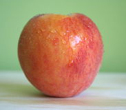 Peach. One fresh peach with waterdrops royalty free stock photography