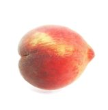 Peach. Single peach close-up  on white isolated Stock Photos