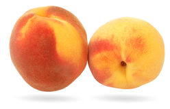 Peach. Two ripe peach isolated on white royalty free stock image