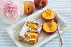 Peach Almond Cake. Home made Peach Almond Cake Royalty Free Stock Photo