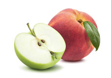 Peach apple half isolated on white background Stock Image