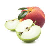 Peach apple half quarter pieces isolated on white background Royalty Free Stock Image