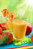Peach and apple smoothie Stock Photo