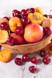 Peach,apricot and cherry Stock Images