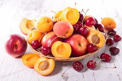 Peach,apricot and cherry Stock Photo