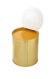 Peach apricot mango puree in an open tin. Orange puree. Royalty Free Stock Image