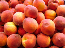Peach background. Fruit and vegetables on a market - Mercat de la boqueria (La Rambla), Barcelona Stock Photos