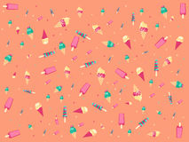 Peach background with ice cream. Royalty Free Stock Image