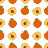 Peach background. Seamless pattern with peaches. Flat style. Vec Royalty Free Stock Photos