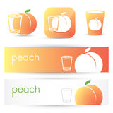 Peach banners and symbols Royalty Free Stock Photography