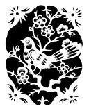 Peach blossom and bird 02. Vector illustration of traditional chinese floral design Stock Image