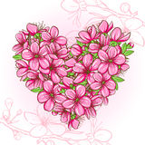 Peach blossom in the shape of heart Stock Photography