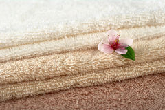 Peach Blossom on Towels Royalty Free Stock Images