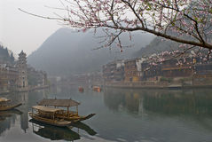 The peach blossom  with two boat Royalty Free Stock Image