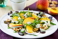 Peach with Blue cheese and Rocket salad Royalty Free Stock Photography