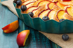 Peach and blueberry pie Royalty Free Stock Photo