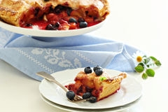 Peach and blueberry summer pie Stock Image