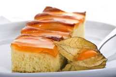Peach cake. Close up of Peach cake Royalty Free Stock Photo