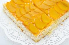 Peach cake. A fresh peach cake - a closeup shot Stock Image