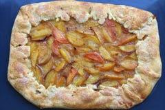 Peach Cake. In baking pan, top view Royalty Free Stock Photos