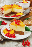 Peach cake with cream Stock Images