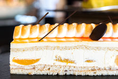 Peach cake. Decorate with chocolate Royalty Free Stock Images