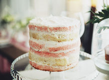Peach cake. A fragrant vanilla peach cake stands on a stand Royalty Free Stock Photos