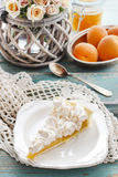 Peach cake with meringue topping Stock Photos