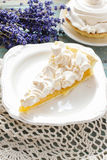 Peach cake with meringue topping Royalty Free Stock Photos