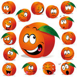 Peach cartoon. With many expressions isolated on white background Stock Photos