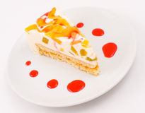 Peach cheese cake Royalty Free Stock Image