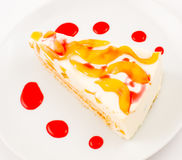 Peach cheese cake Stock Photography