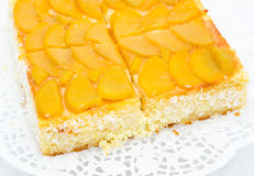 Peach cheese cake Royalty Free Stock Photography