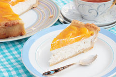 Peach cheesecake with agar jelly Royalty Free Stock Photo