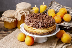Peach cheesecake with chocolate topping Royalty Free Stock Image