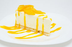 Peach cheesecake Stock Photos
