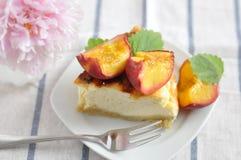 Peach Cheesecake Stock Photo
