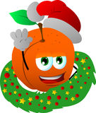 Peach with Christmas wreath and Santa hat Stock Photo