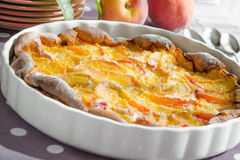 Peach clafouti Stock Photos