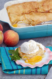 Peach Cobbler. Delicious homemade peach cobbler with fresh peaches stock image
