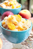Peach Cobbler. Fresh peach cobbler served outdoors royalty free stock image