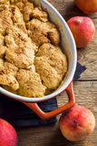 Peach cobbler stock photos