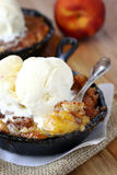 Peach Cobbler with Ice Cream stock photo